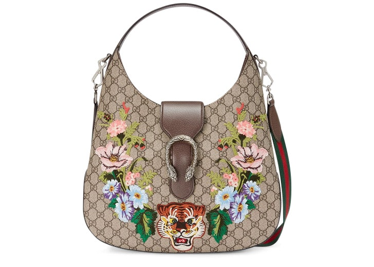 Gucci Dionysus Hobo GG Embroidered Tiger/Floral Medium Brown/Multicolor
