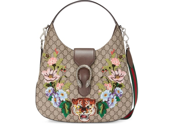 ff90446b71c6 Gucci Dionysus Hobo GG Embroidered Tiger Floral Medium Brown Multicolor