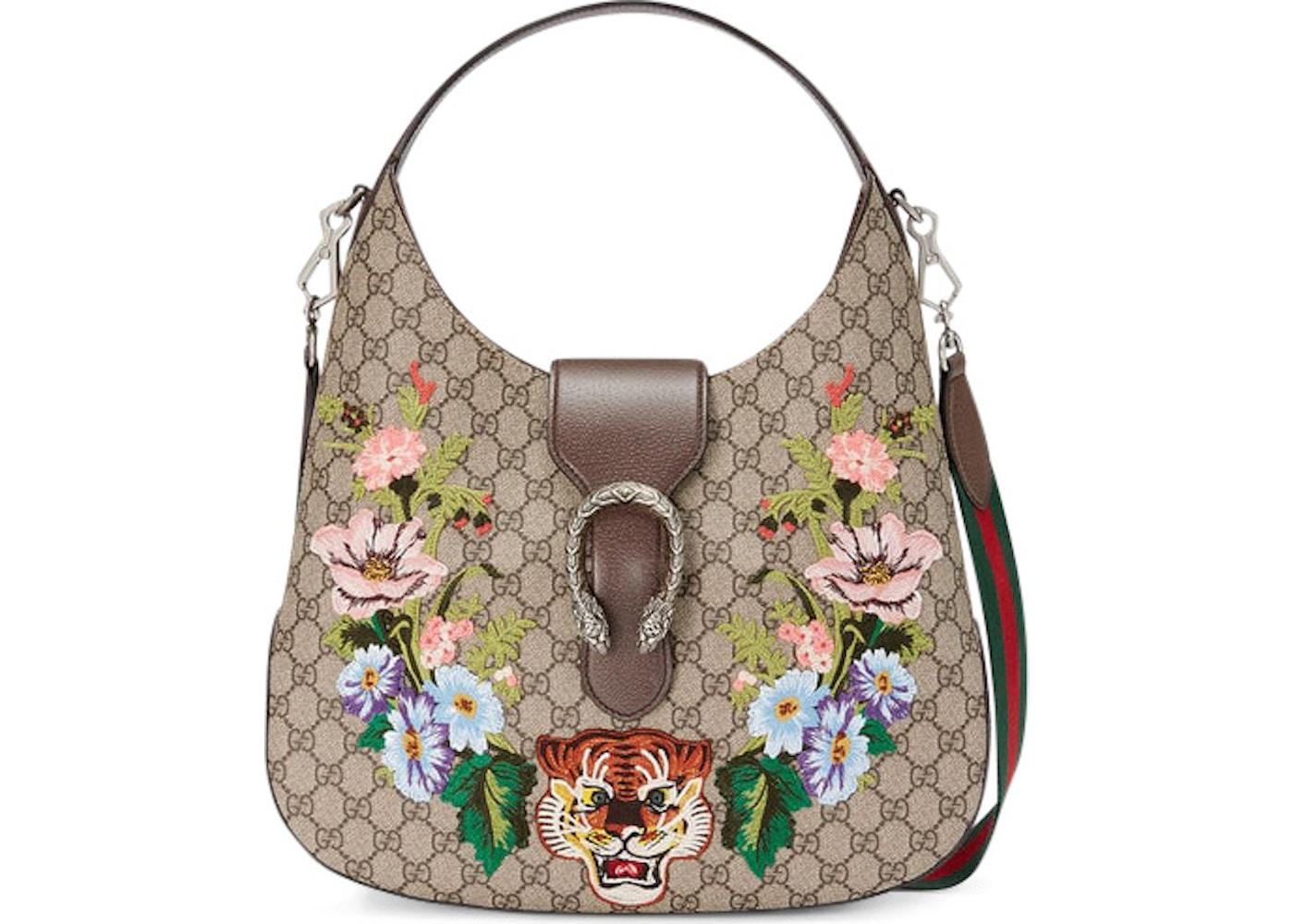 bb8db6b5 Gucci Dionysus Hobo GG Embroidered Tiger/Floral Medium Brown ...