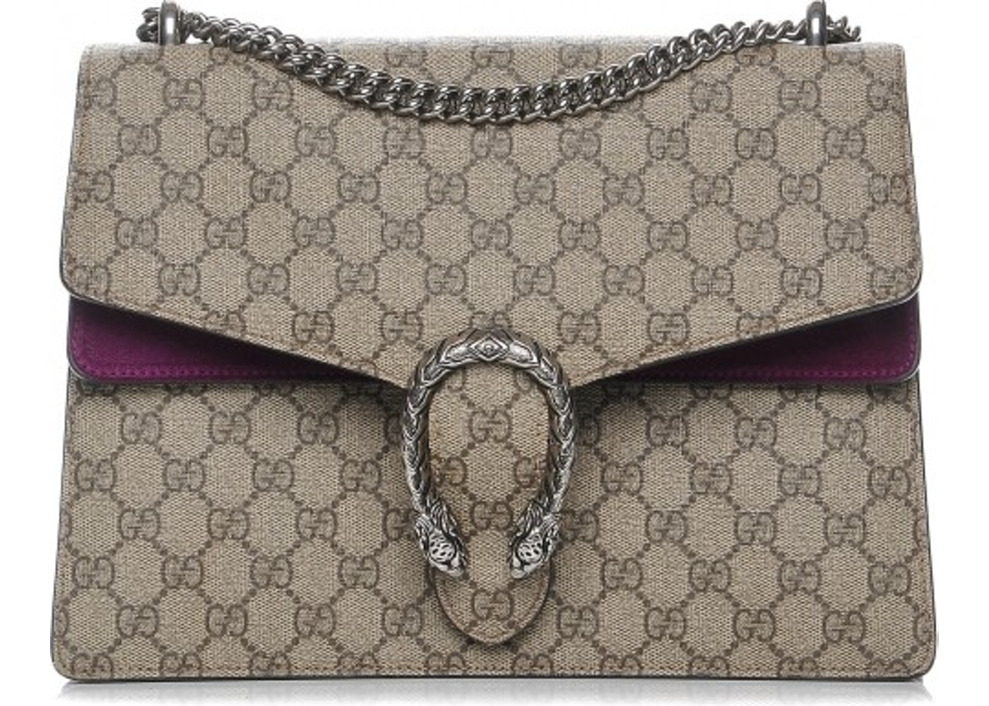 65373e706 Gucci Dionysus Shoulder Bag Monogram GG Supreme Medium Brown/Beige/Purple.  Monogram GG Supreme Medium Brown/Beige/Purple