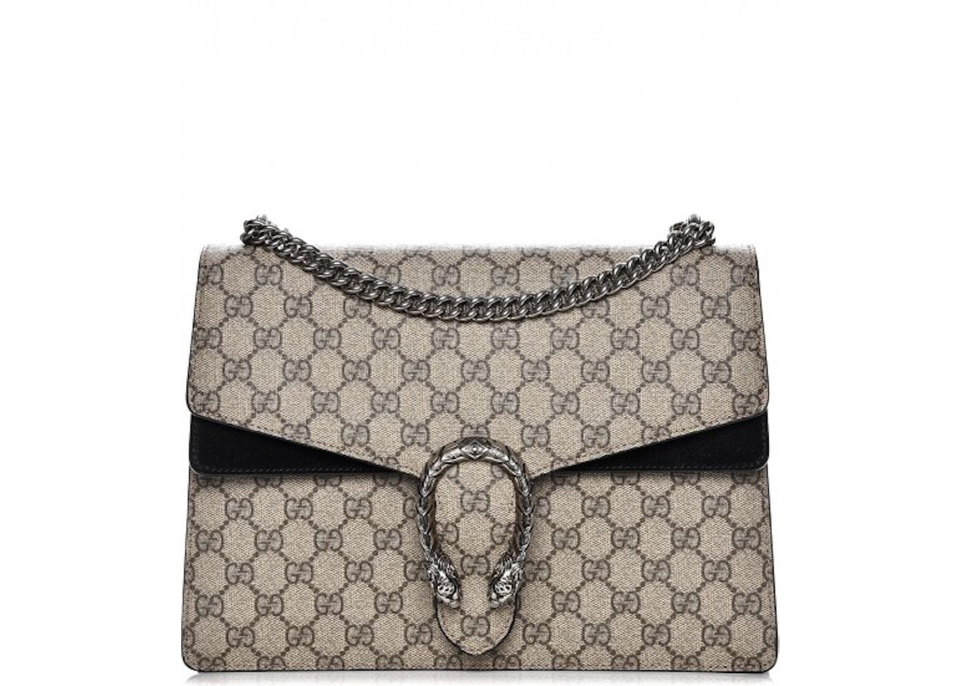 c8ea05ddc Gucci Dionysus Shoulder Monogram GG Supreme Medium Black/Beige