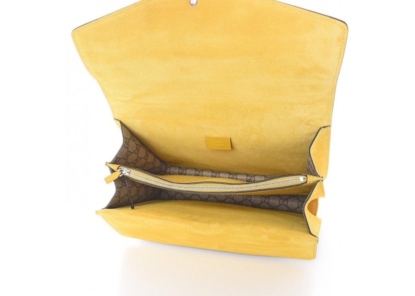55121dda2ceb Gucci Dionysus Monogram GG Supreme Bow/Embroidered Crystal Medium Yellow