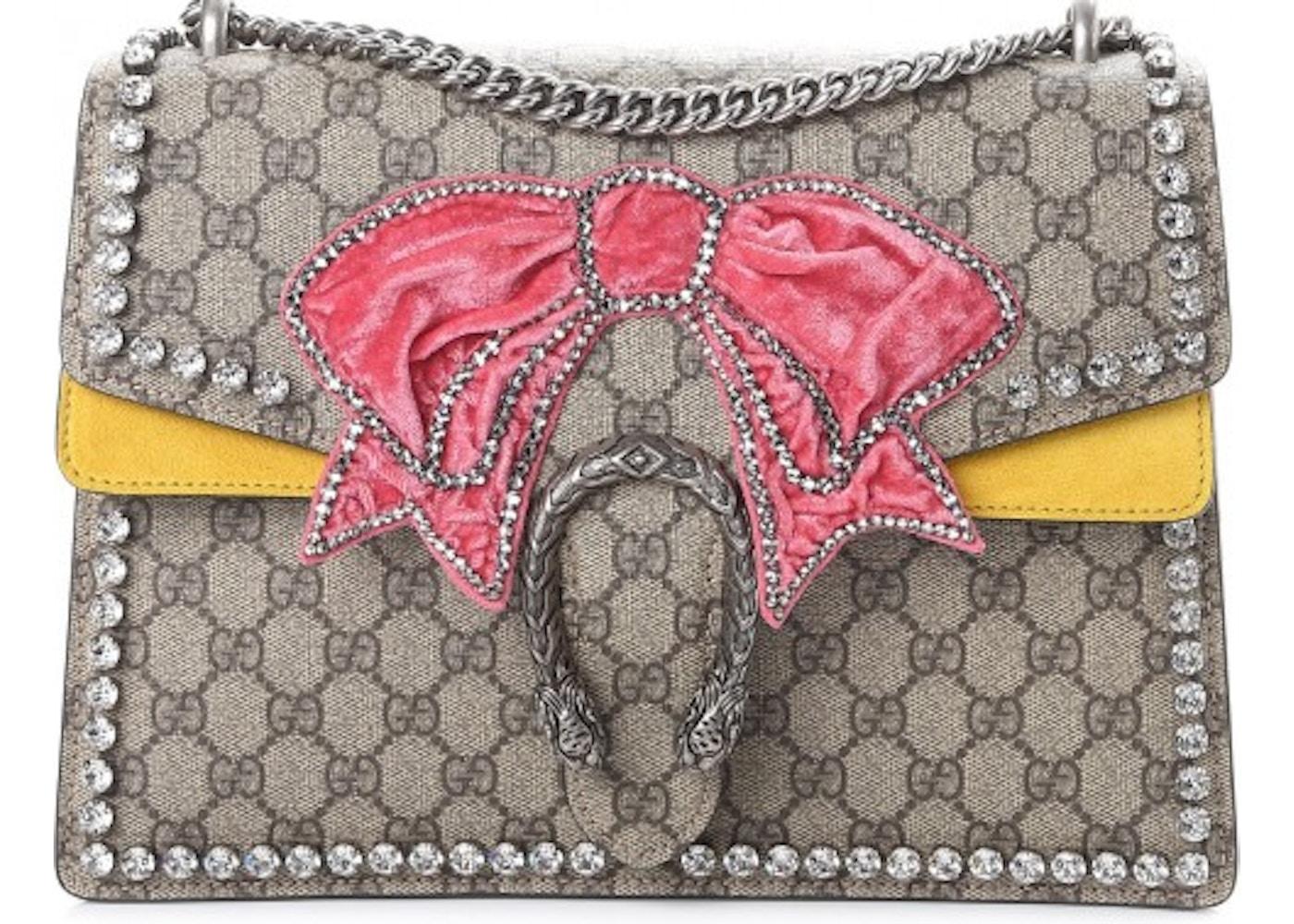 2c0665b331cd Gucci Dionysus Monogram GG Supreme Bow/Embroidered Crystal ...