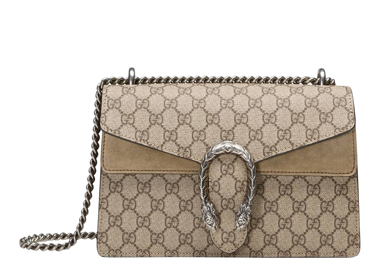 Gucci Dionysus Shoulder GG Supreme Canvas Small Taupe