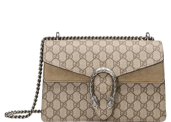 59b7bca3aa Gucci Dionysus Shoulder GG Supreme Canvas Small Taupe