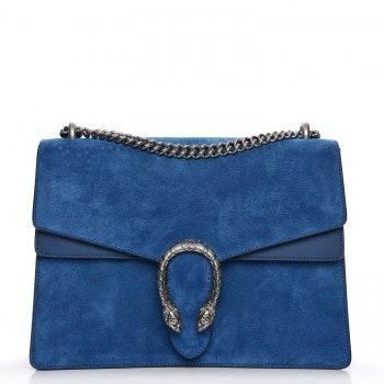 Gucci Dionysus Shoulder Bag Suede Blue Medium