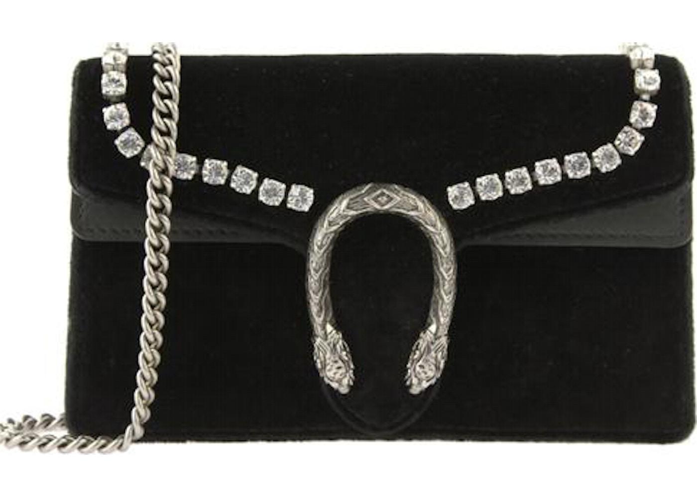 838e03feb58 Gucci Dionysus Velvet Crystal Lined Super Mini Black