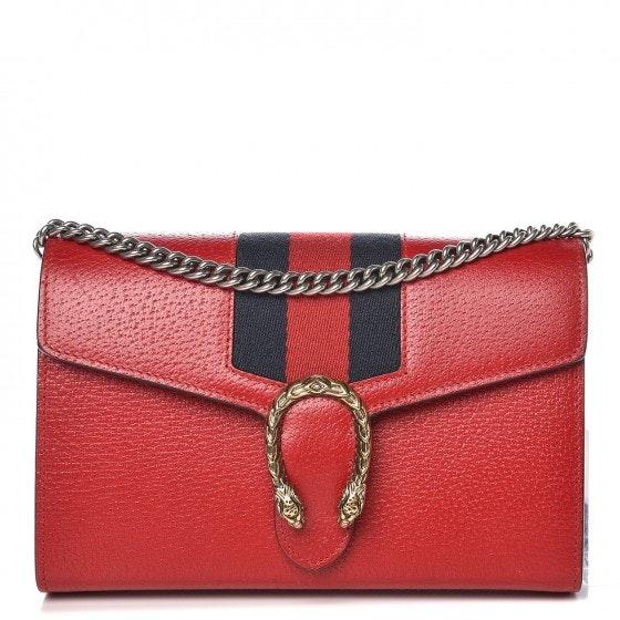 Gucci Dionysus Wallet Web Mini Hibiscus Red