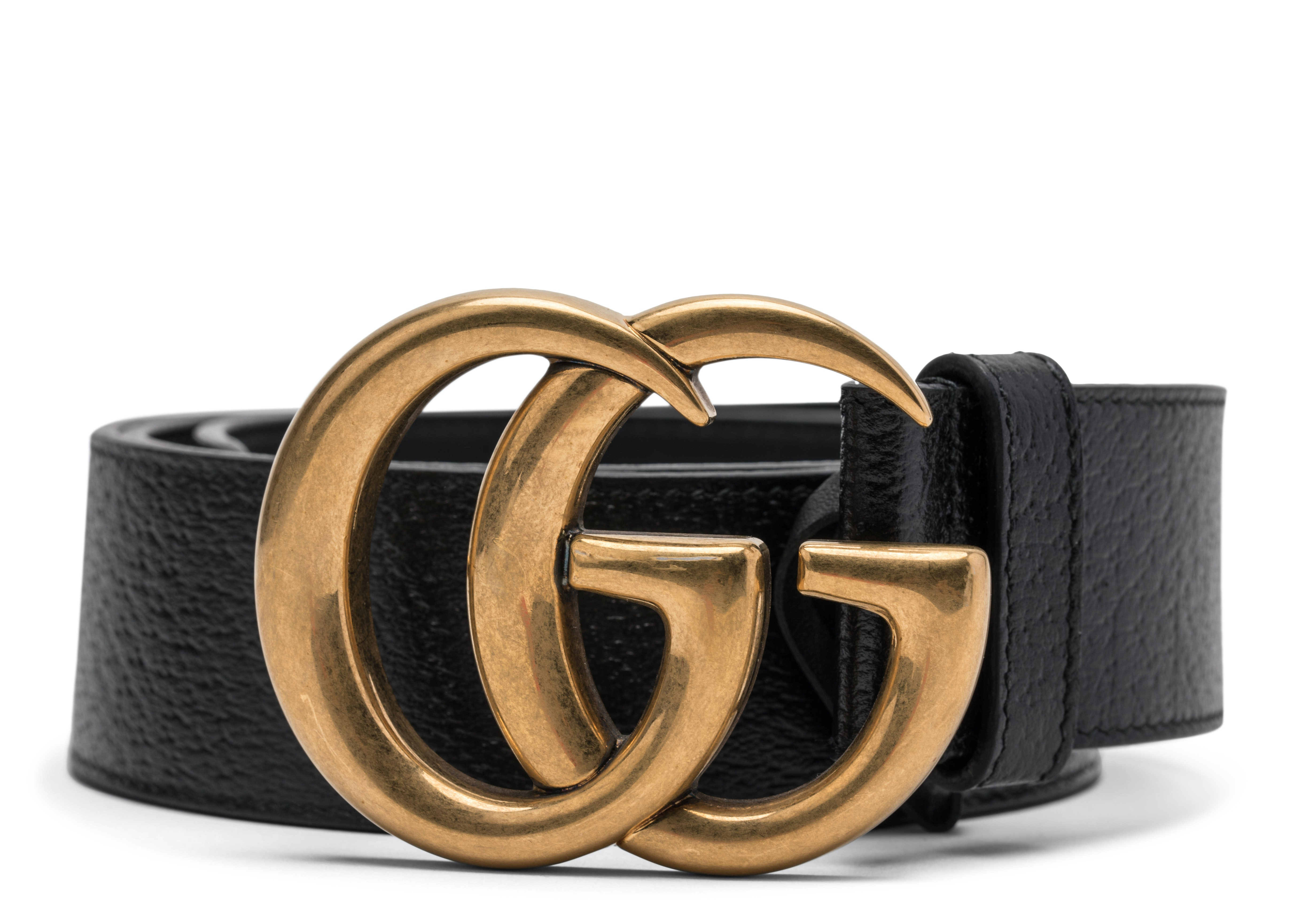 Gucci Double G Gold Buckle Textured Leather Belt 1.5 Width Black