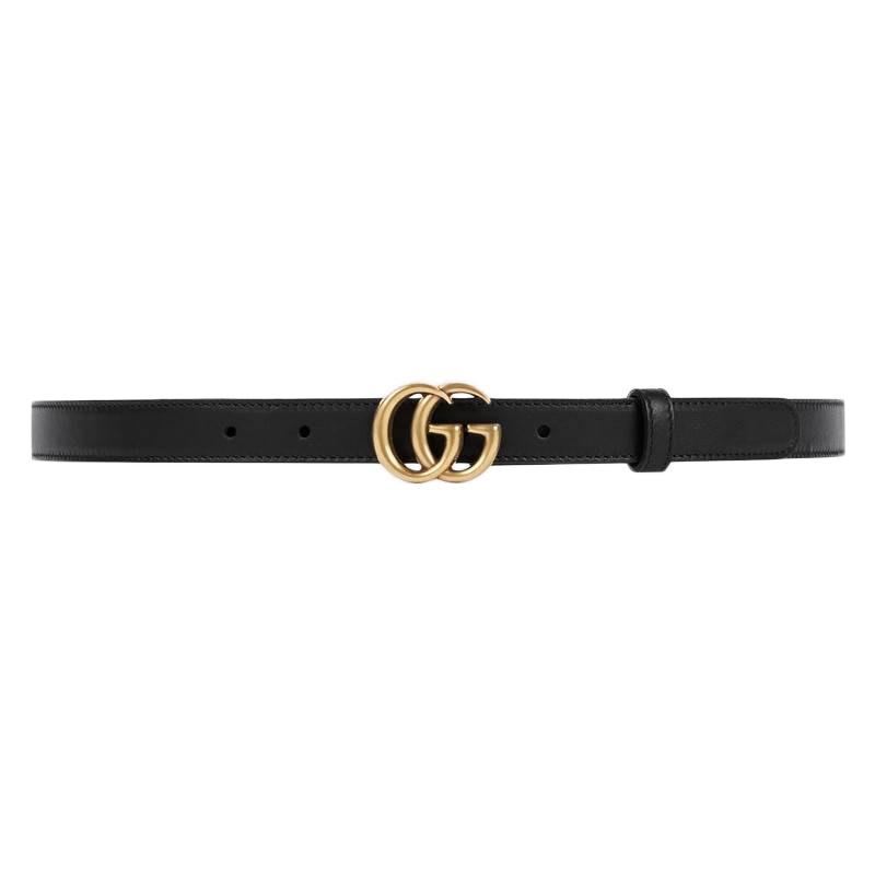 Gucci Double G Buckle Leather Belt .05 Width 85-34 Black