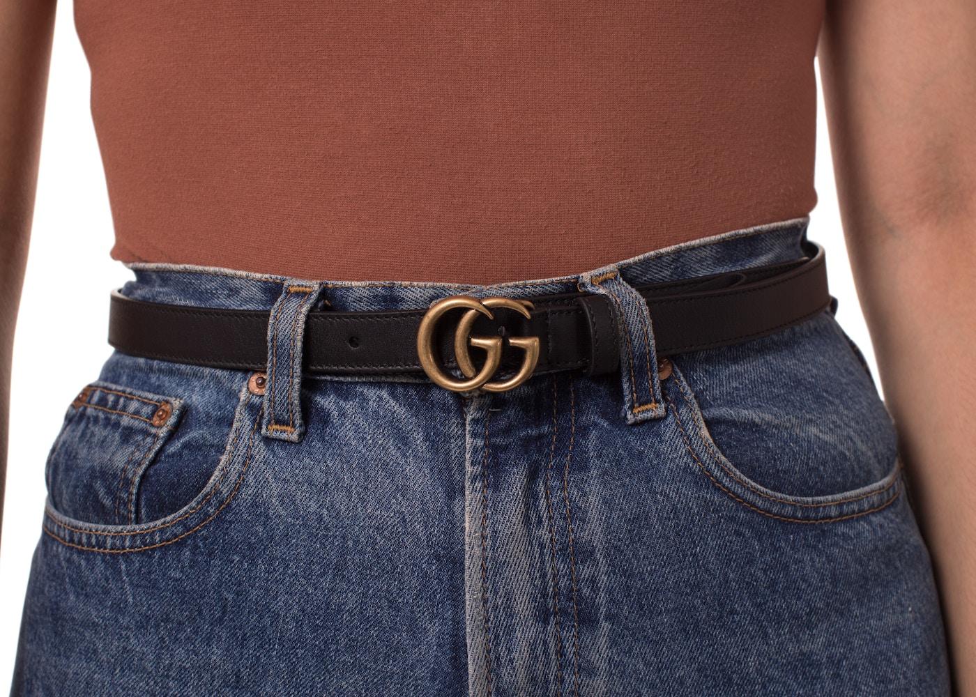 c3ce4b5a01b Gucci Double G Gold Buckle Leather Belt 0.8 Width Black