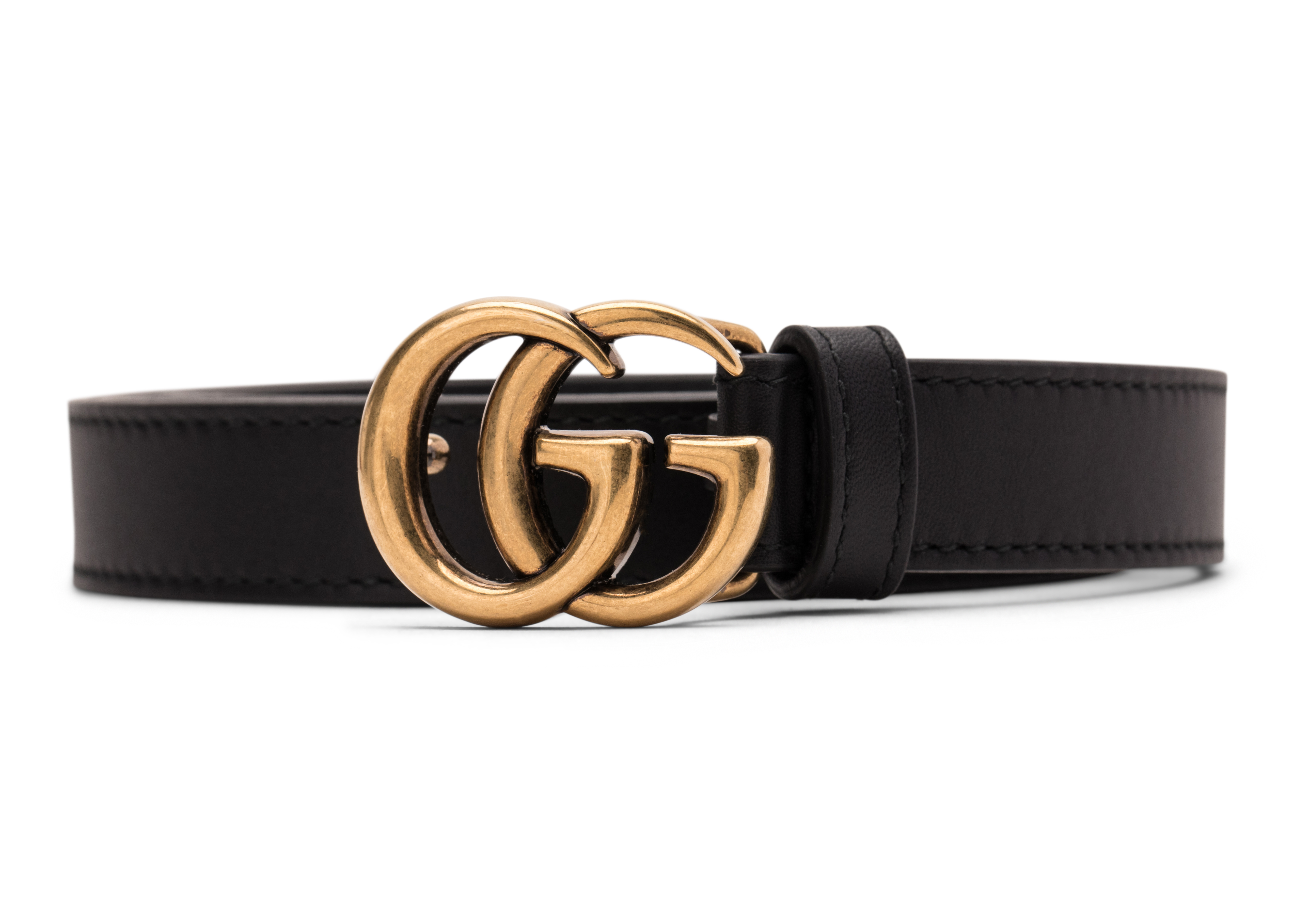 Double G Gold Buckle Leather Belt 0.8 Width Black