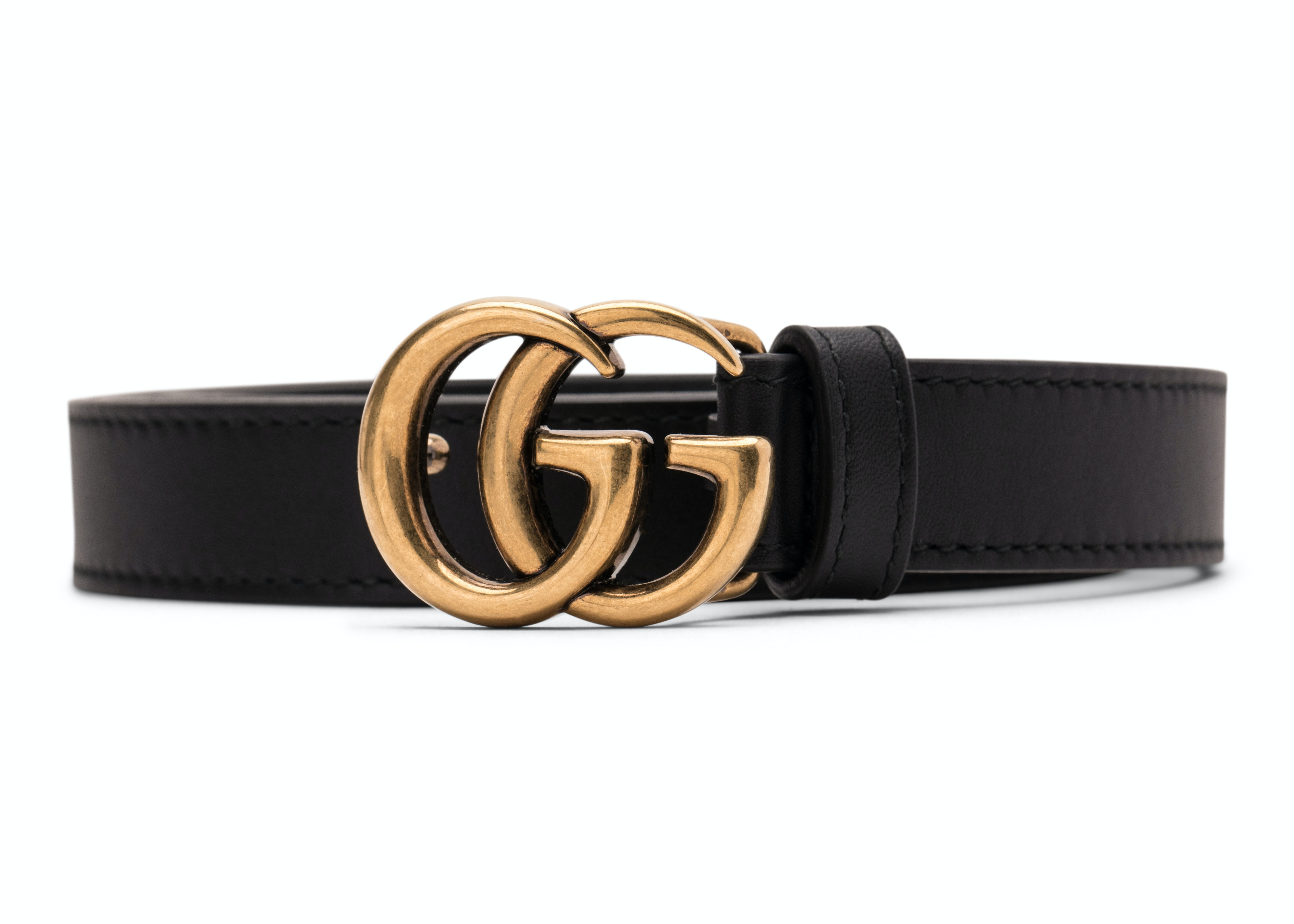 Gucci Double G Gold Buckle Leather Belt 0.8 Width Black