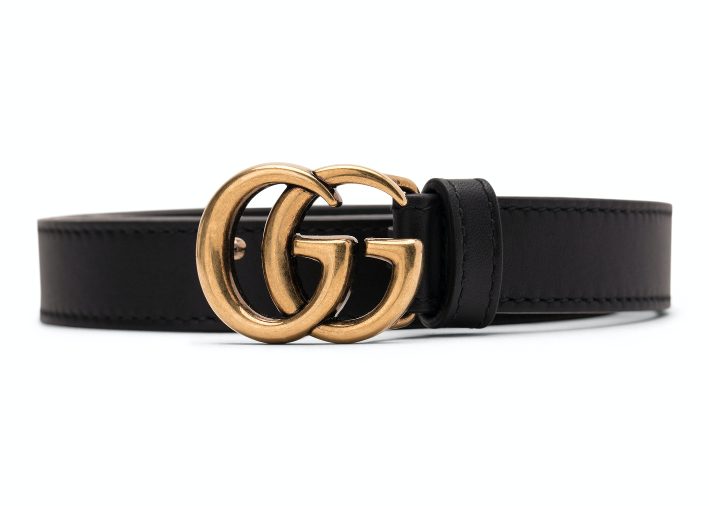 0f0e6cd2e Gucci Double G Gold Buckle Leather Belt 0.8 Width Black