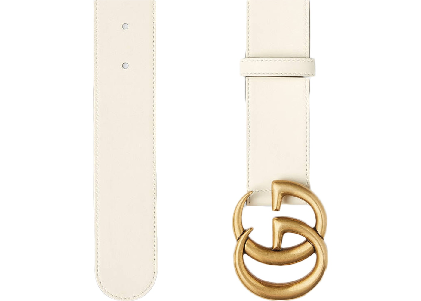 e2f9e76d3 Gucci Double G Gold Buckle Leather Belt 1.5 Width White