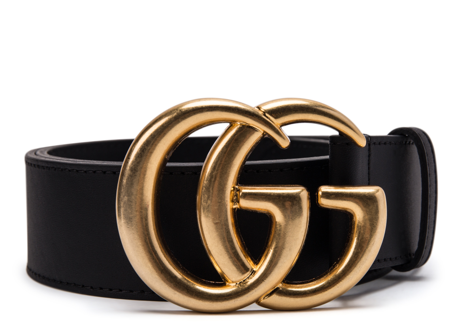 Double G Gold Buckle Textured Leather Belt 1.5 Width Black