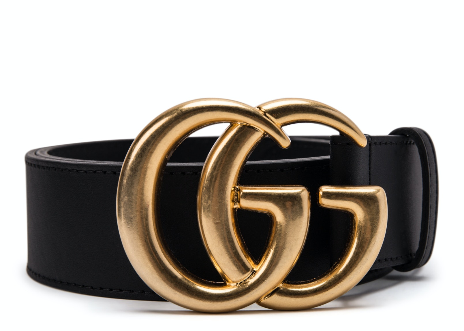 Gucci Double G Gold Buckle Leather Belt 1.5 Width Black