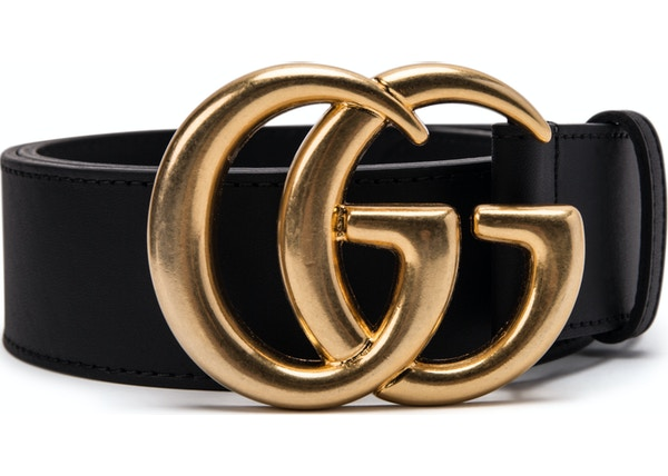 94e7742ec Gucci Double G Gold Buckle Leather Belt 1.5 Width Black