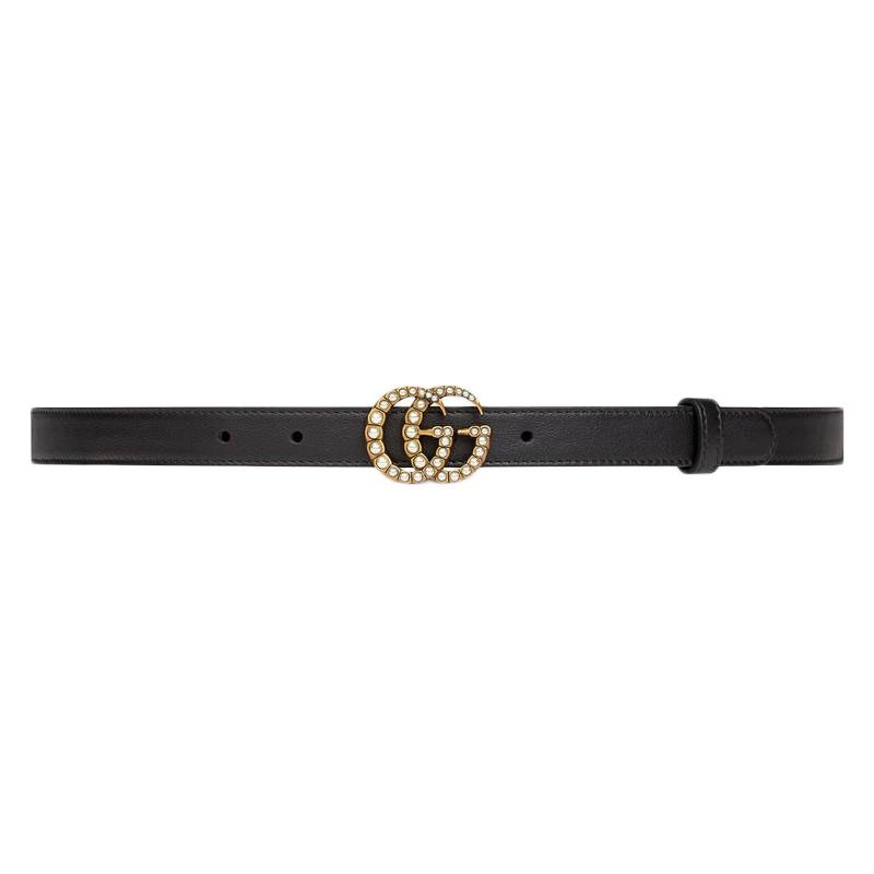 Gucci Double G Belt Pearl Buckle Black