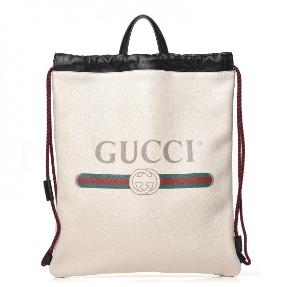 Gucci Drawstring Backpack Logo Mystic White