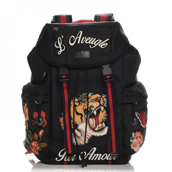 Gucci Techno Canvas Web Drawstring Backpack Embroidered Black