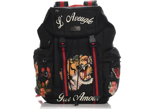 808b0526ad10 TOP. Gucci Techno Canvas Web Drawstring Backpack Embroidered Black