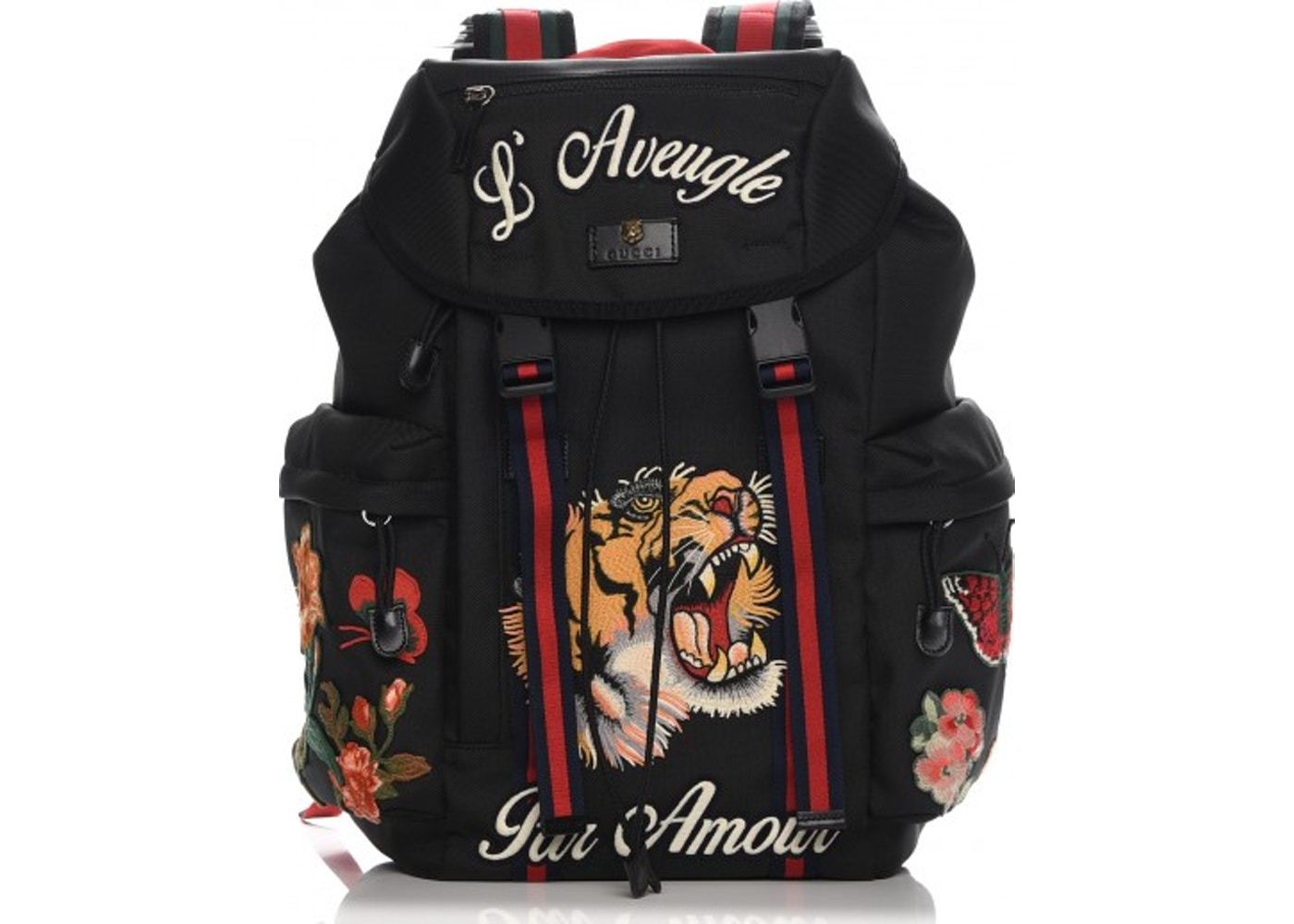 9ab4108c2bc28b Gucci Techno Canvas Web Drawstring Backpack Embroidered Black