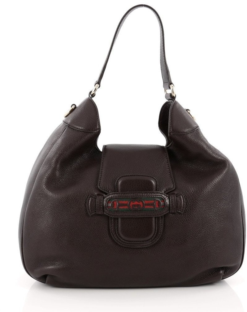 Gucci Dressage Hobo Leather Vintage Web Brown
