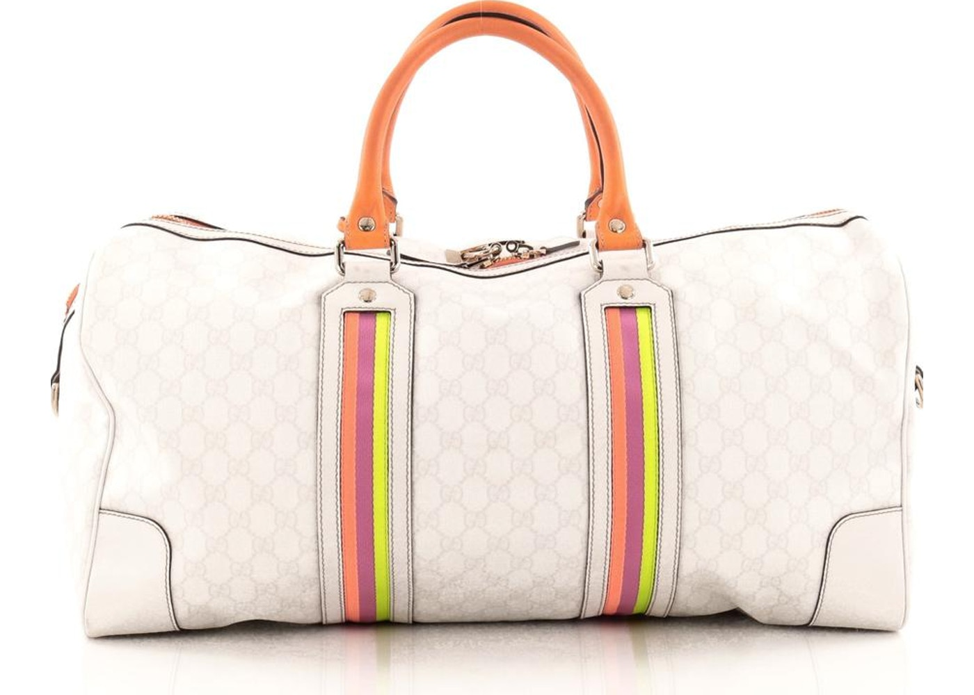 170873ca290 Gucci Convertible Duffle Bag GG Monogram Fluorescent Web Large  White Orange Purple Yellow