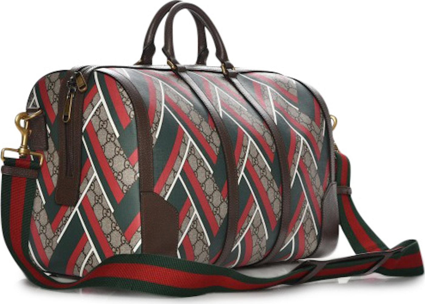 eec69d170dd9 Gucci Duffle Bag Monogram GG Supreme Chevron Web Medium Brown