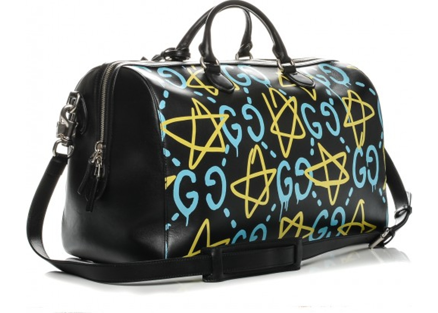 5b3e0e021faa Gucci GucciGhost Duffle Bag Black/Blue/Yellow