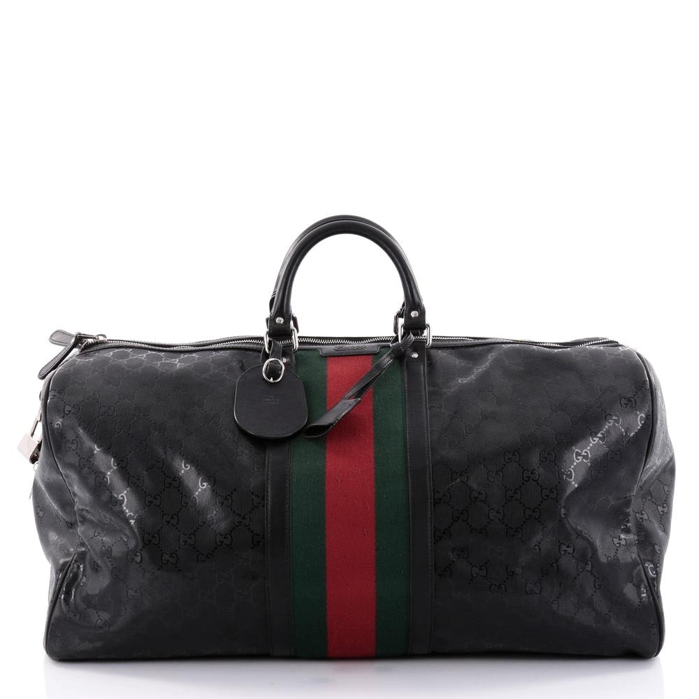 Gucci Web Duffle Monogram GG Web Stripe Large Black