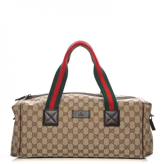 Gucci Web Duffle Monogram GG Small Brown/Green/Red