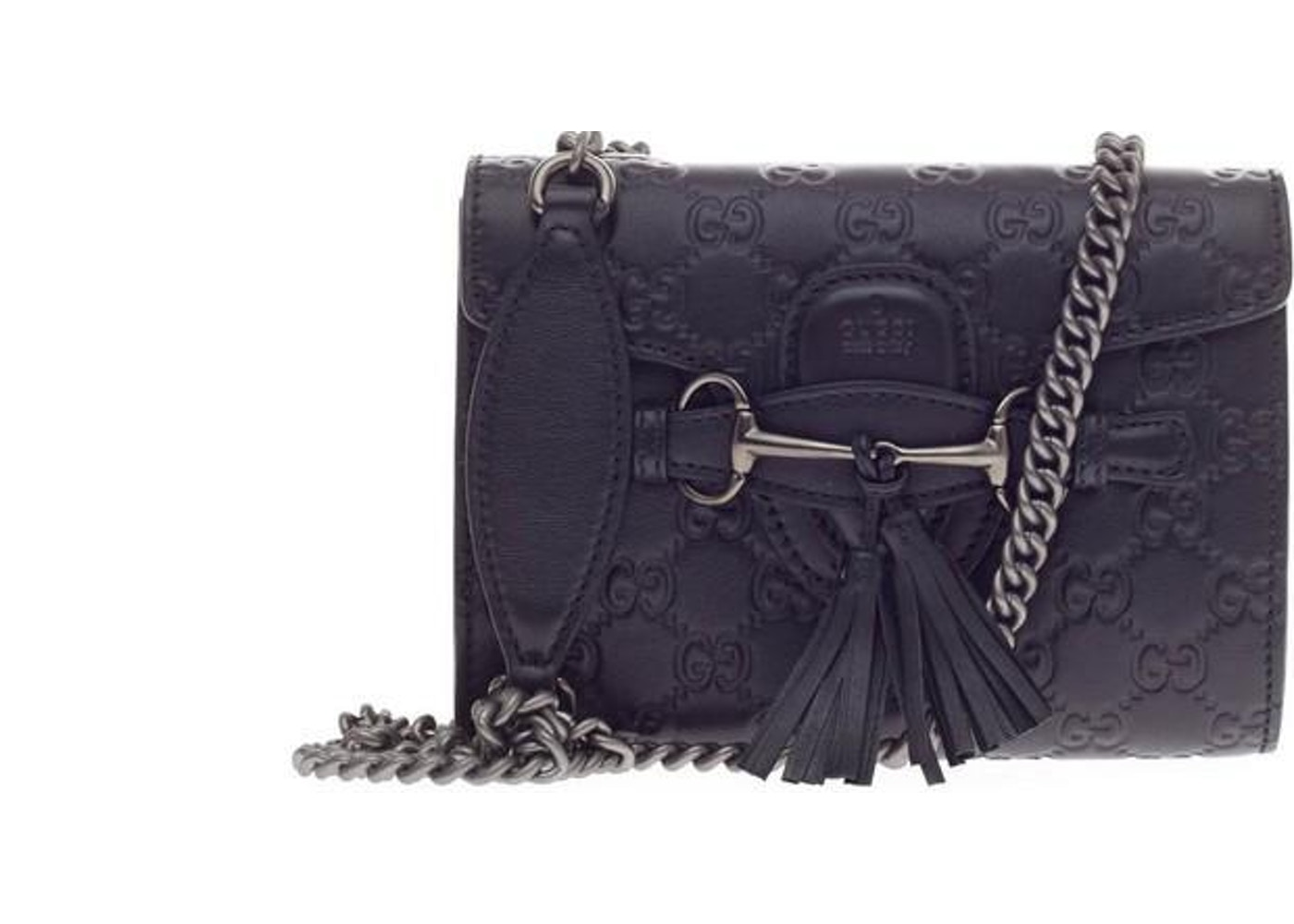 2968758375be3 Gucci Emily Flap Chain Shoulder Guccissima Mini Black. Guccissima Mini Black