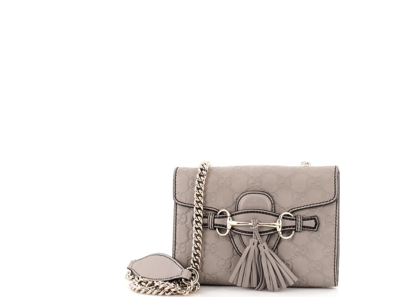 f288b2020a26c Gucci Chain Strap Flap Emily Monogram Guccissima Mini Taupe Grey. Monogram Guccissima  Mini Taupe Grey