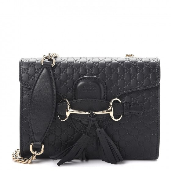 Gucci Emily Flap Monogram MicroGuccissima Embossed Mini Black