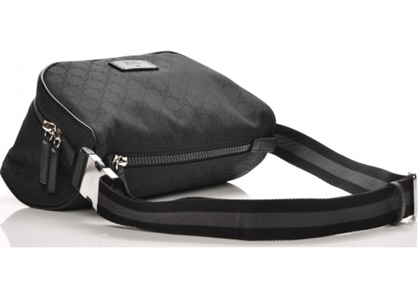 63b377493a1a Gucci Fanny Waist Bag Monogram GG Web Strap Black