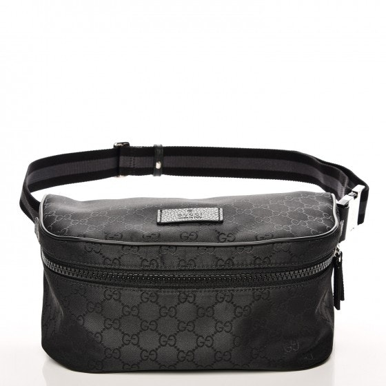 Gucci Fanny Waist Bag Monogram GG Web Strap Black