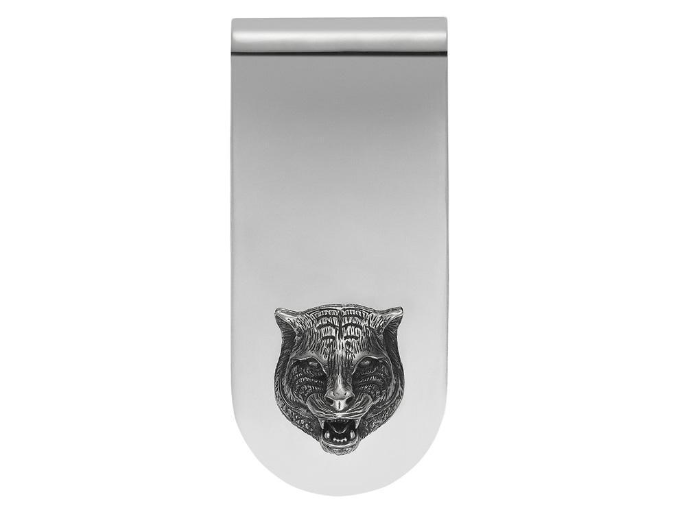 Gucci Feline Head Money Clip Silver