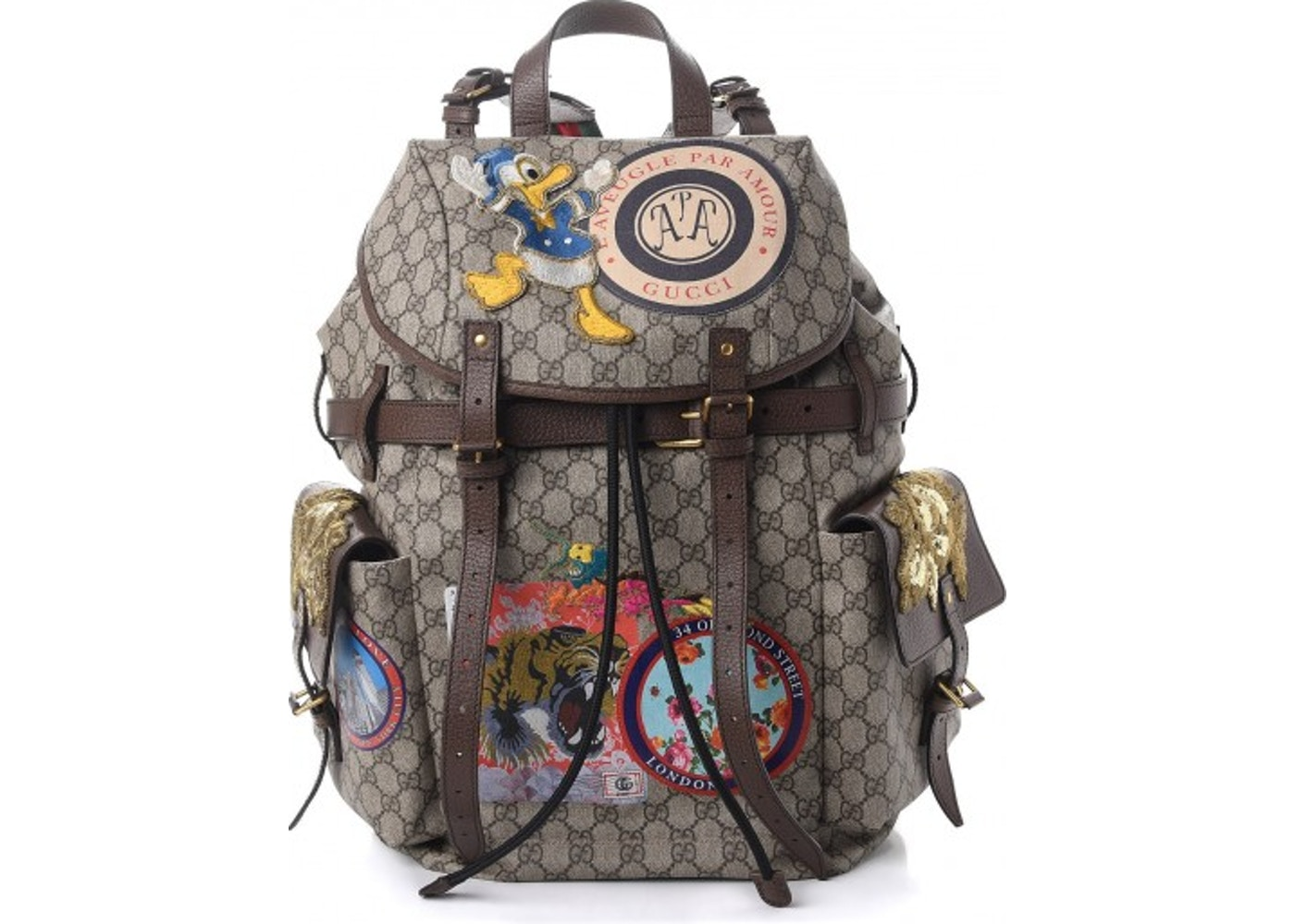 65116aaba60 Gucci Flap Backpack Monogram GG Supreme Embroidered Patches ...