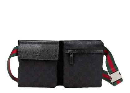 Gucci Flap Belt Bag GG Web Strap Black