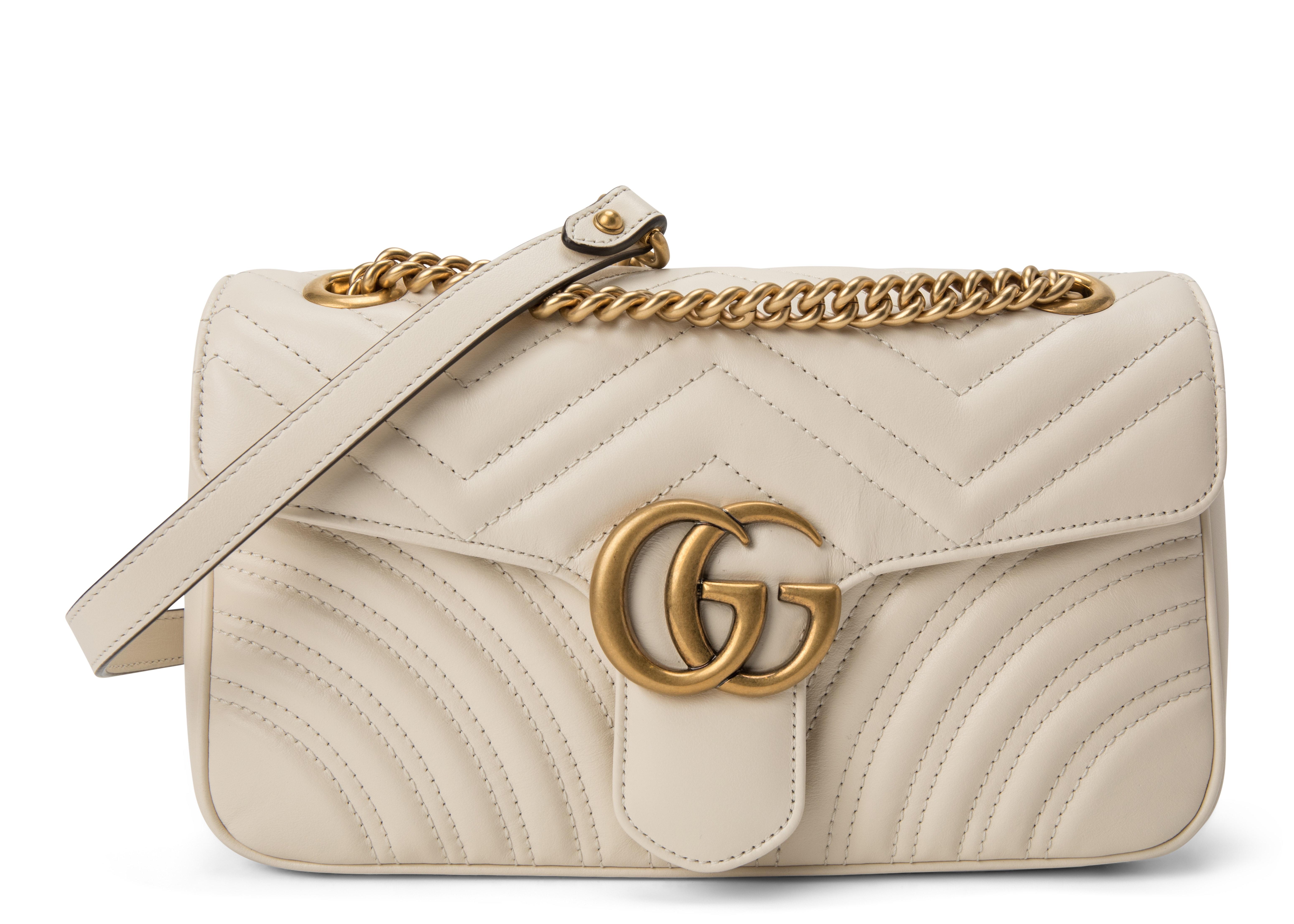 Gucci GG Marmont Shoulder Bag Matelasse Small White