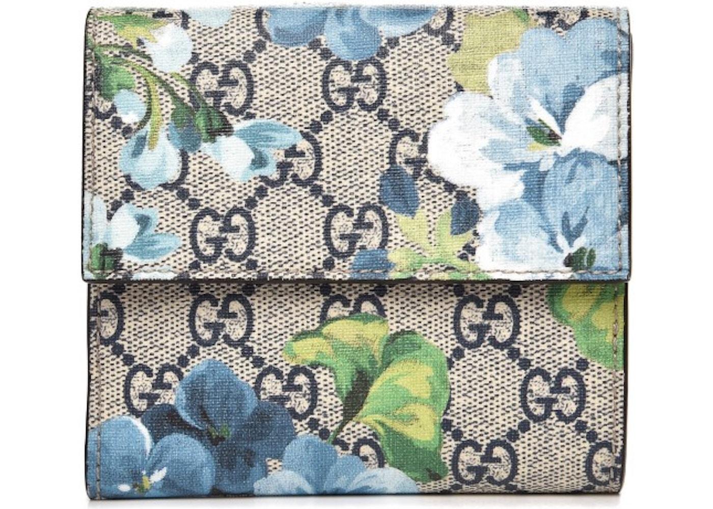 a1fc3e10ecf Gucci French Flap Wallet Monogram GG Supreme Blooms Print Blue. Monogram GG  Supreme Blooms Print Blue