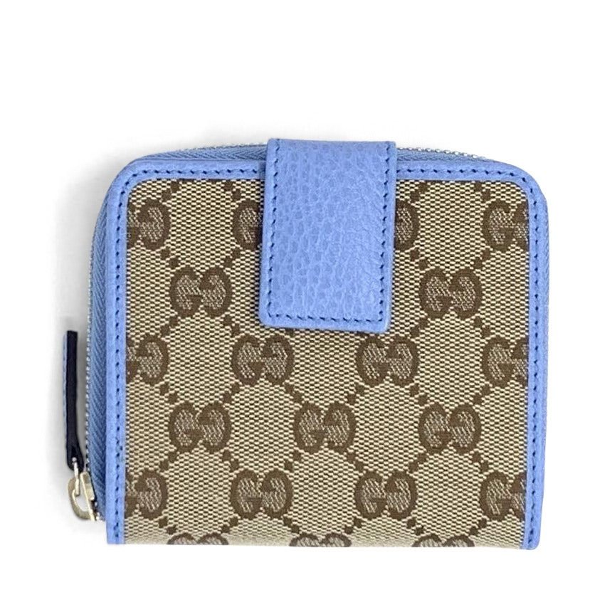 Gucci French Wallet GG Supreme Beige Blue