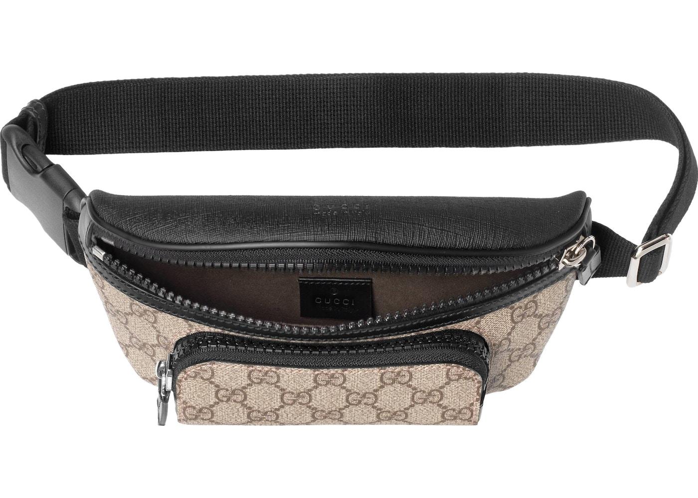 c05d3963b Gucci Front Pocket Belt Bag GG Supreme Small Black/Beige