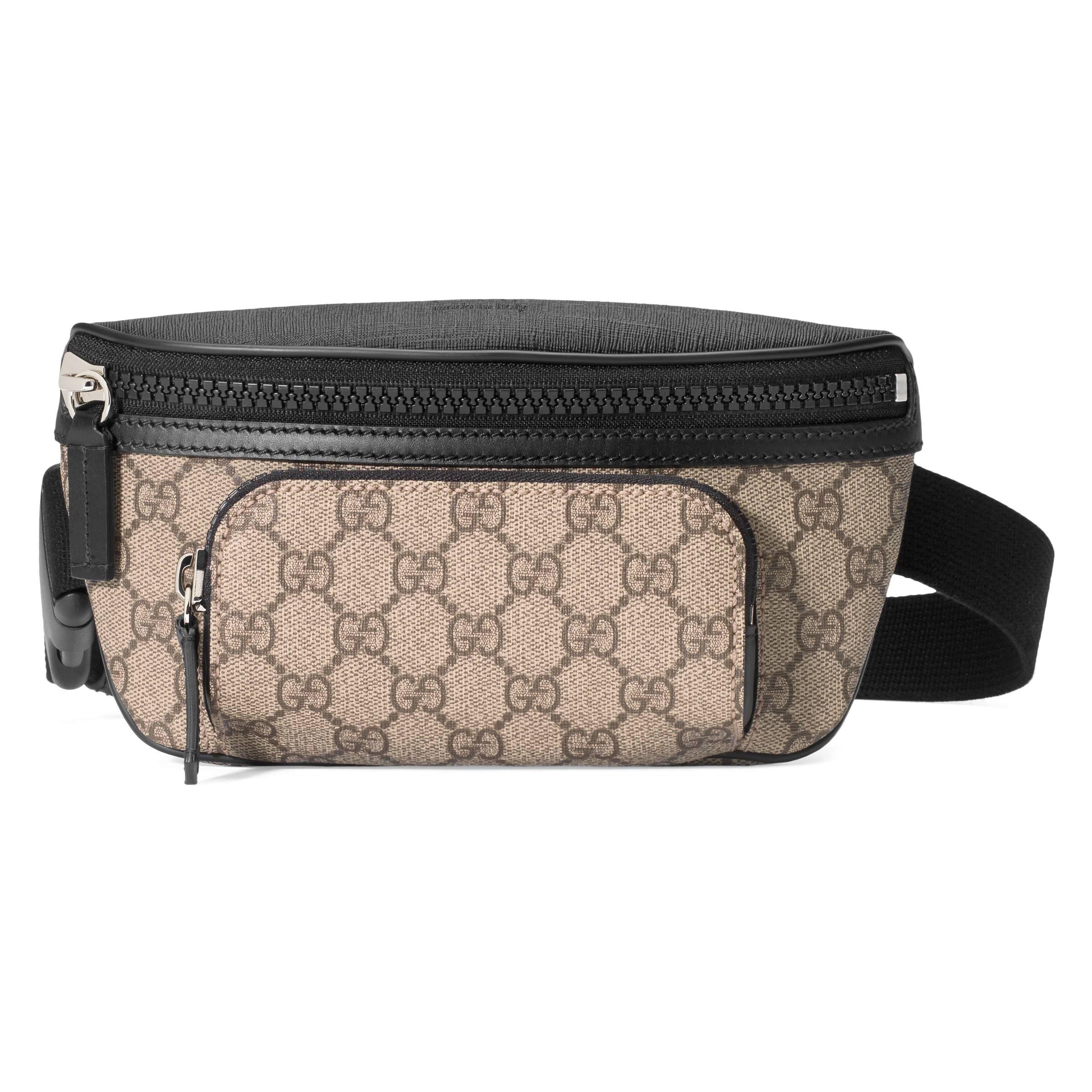 Gucci Front Pocket Belt Bag GG Supreme Small Black/Beige