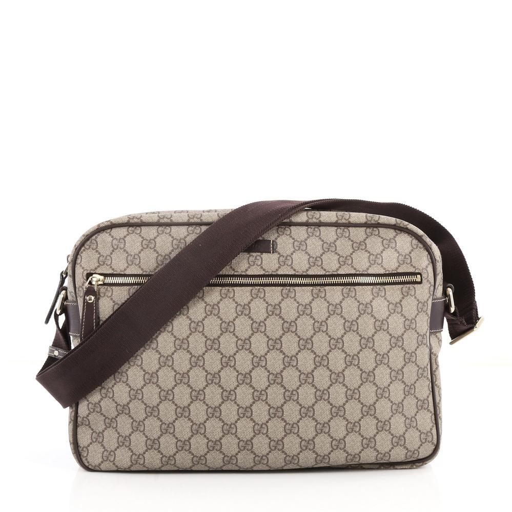 Gucci Front Zip Camera Bag Monogram GG Large Brown