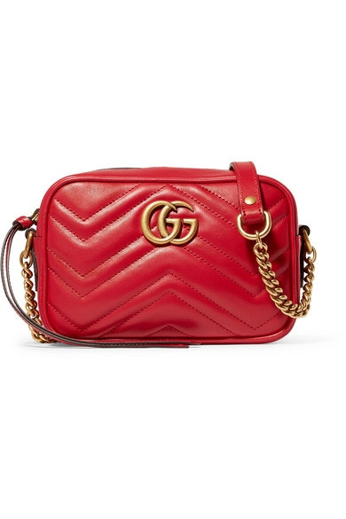 Gucci GG Marmont Camera Shoulder Quilted Mini Hibiscus Red