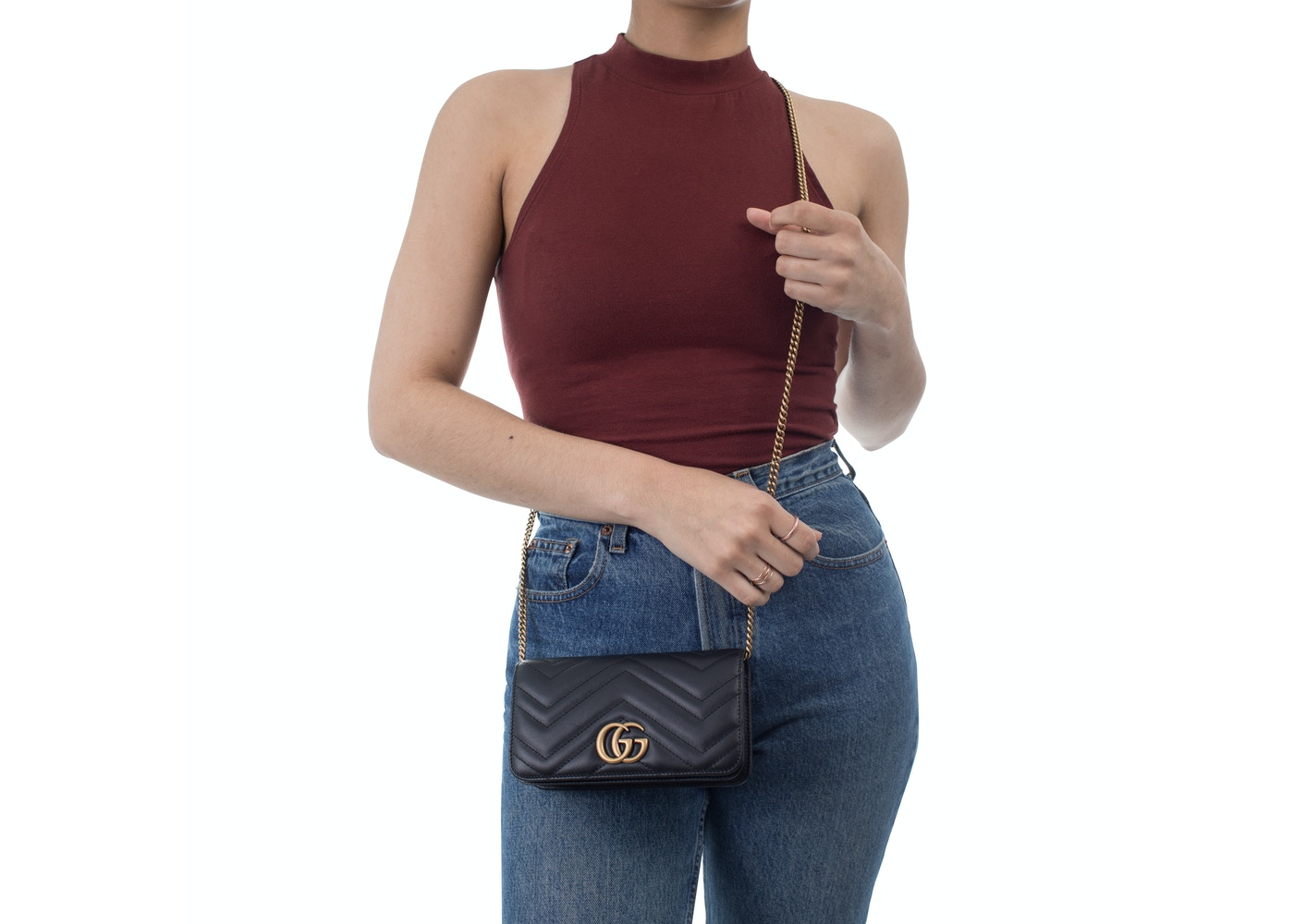 a43a44aec Gucci GG Marmont Crossbody Chain Wallet Matelasse Black