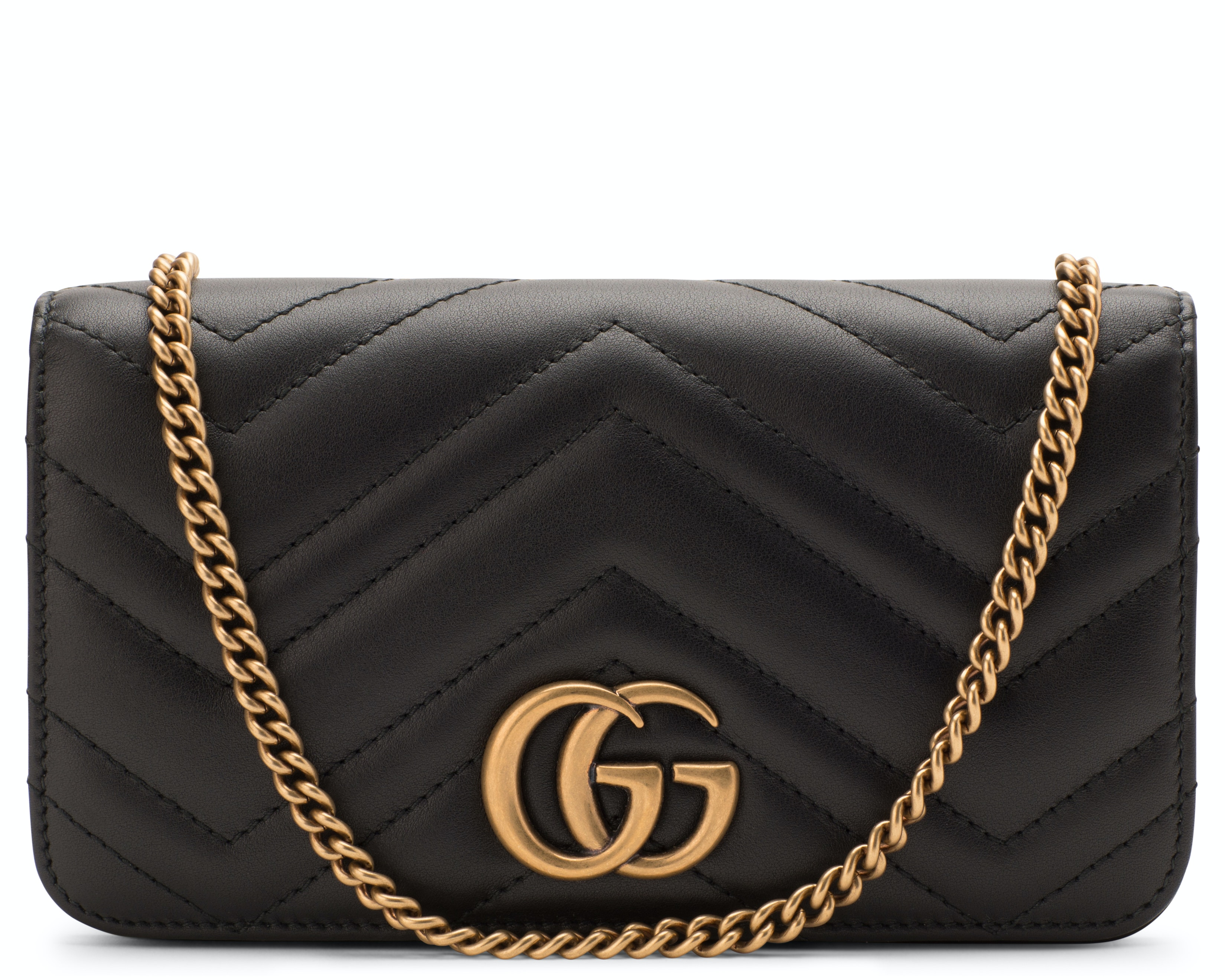 Gucci GG Marmont Crossbody Chain Wallet Matelasse Black